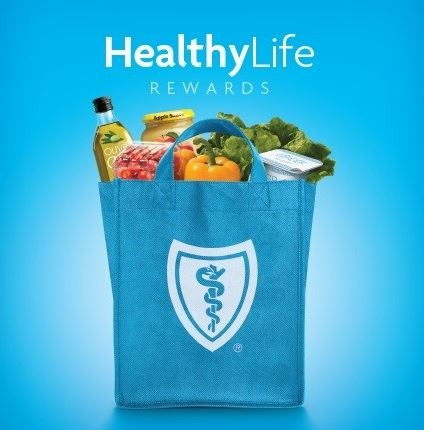 bag of groceries with blueshield logo image