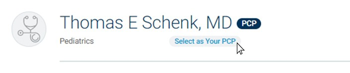 screenshot of selecting your primary doctor